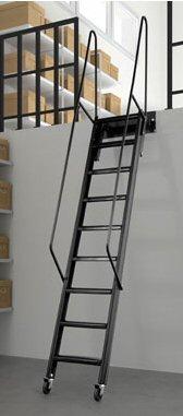 Scala rigida con ruote scale da appoggio per soppalchi e for Scale per librerie in legno