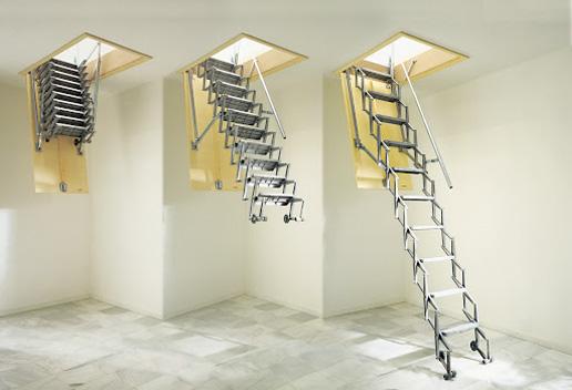 Scale retrattili scala retrattile a parete scala retrattile soppalco scala per botola scale - Scale a botola da soffitto ...