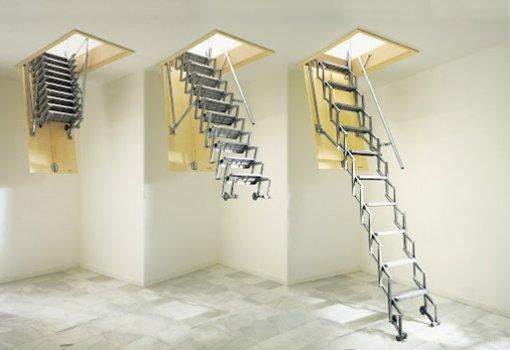 Scale retrattili a botola a parete verticale motorizzata - Scale per soppalchi ...